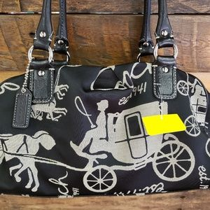 Coach horse and carriage canvas bag
